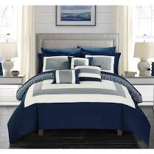 hotel collection comforter set. Chic Home Heldin 10 Piece Navy Reversible Hotel Collection Comforter Set Bed In A Bag O