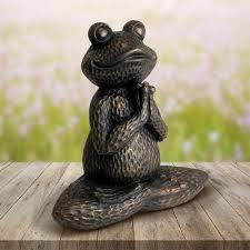 exhart meditating yoga frog garden