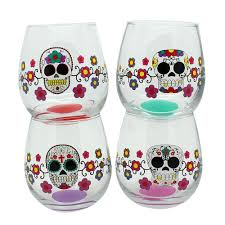 Sugar Skull Bathroom Decor Day Of The Dead Glass Stemless Wine Glasses Set Of 4 Sugar Skulls