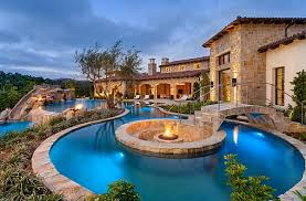 Large Pool Design For Dream Backyard Decor With Rock Waterfall