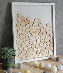 personalize wood wedding guest book frame drop box with hearts mr mrs baby shower guest book alternative