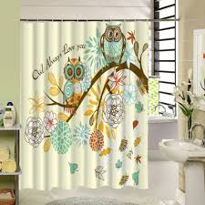 cute owl designer shower curtains with white flowers for cool bathroom ideas and design