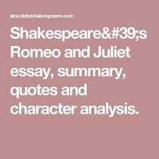 analysis of romeo essay character analysis essay on romeo and juliet