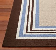 pottery barn kids tailored stripe rug brown blue wool 5 x 8 new 50