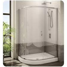 fleurco fa483 signature capri half round frameless curved glass sliding shower door
