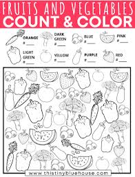 Another theme for beautiful coloring pages preschool children : Free Printable Fruit And Vegetable Count And Color Activity For Preschoolers This Tiny Blue House
