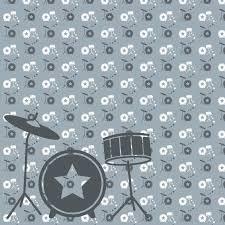Behangpapier Muziek Met Drumstel Grijs Decovrycom