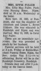 Effie May Gilmore Fuller. Obituary 1969 - Newspapers.com