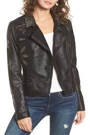image of blanknyc denim embellished faux leather moto jacket