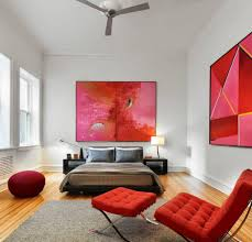 Stylish Chairs For Bedroom Bedroom With Red Abstract Wall Arts And Barcelona Chair The