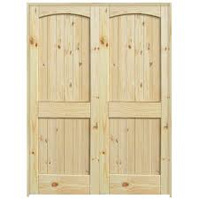 36 2 panel arch top knotty pine interior double door unit