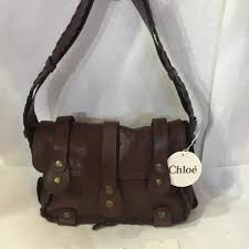 chloe brown whipstitch silverado shoulder walnut leather bag purse handbag nwt