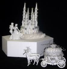 Disney Castle Cake Topper Cinderella Castle Coach Horses Lighted
