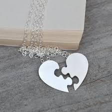 puzzle heart necklace interlocking