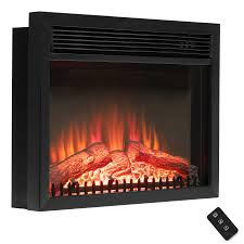 23 black freestanding logs portable electric fireplace heater w remote control 2
