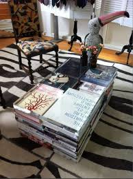 diy coffee table stack books top