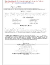 Dental Assistant Resume Template All Best Cv Resume Ideas