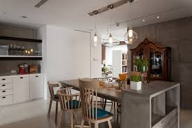 contemporary light fixtures in rustic dining room interior