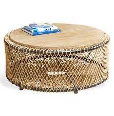 saranda beach style wood rope round coffee table kathy kuo home