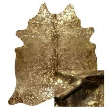 metallic devore cowhide rug with star metallic base by