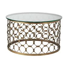 awesome round coffee table come with unique brass coffee table base with round clear glass coffee