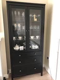 glass door cabinet with 3 drawers hemnes black brown in excellent condition