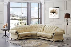 Amazon.com: Versace Beige Leather Sectional Sofa in Traditional Style:  Kitchen & Dining