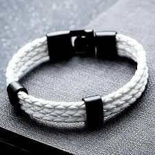 2018 three layer white leather bracelet men jewelry pulseras hombre handmade charm bracelets bangles vintage rock mens jewellery build your own charm