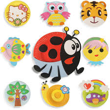 12pcs color paper plates cartoon animals stickers creative handmade diy plate painting kindergarden educational toys