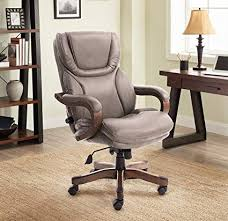 L Serta Big And Tall Executive Office Chair With Upgraded Wood Accents  Mindset Gray Bonded Leather