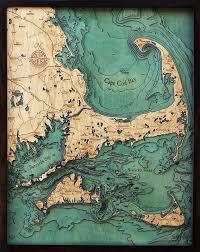 Cape Cod Islands 3 D Nautical Wood Chart 24 5 X 31