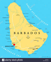 barbados political map with capital bridgetown with important