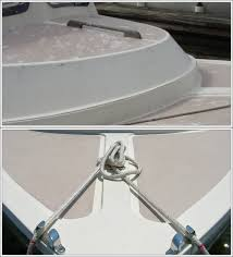 above the molded in foredeck nonskid on this boat was worn down over the