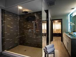 Bathroom: Modern Master Bathroom Ideas With Glass Shower Room And Mosaic  Tiles Wall - Ideas