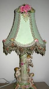 shabby chic lighting. Painted And Decorated A Plain White Shade To Match Vintage Lamp Base. Shabby Chic Lighting