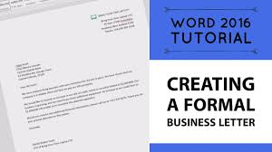 Creating A Formal Business Letter In Microsoft Word Word 2016