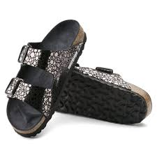 birkenstock arizona soft footbed birko flor metallic stones black women sandals no 1008871