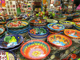 Mexican Kitchen Colorful Mexican Kitchen Bowl Pottery With Flower Patterns Stock