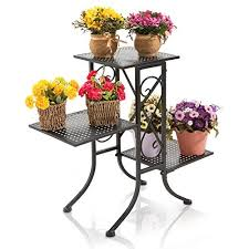 Flower Display Stand For Sale 100 Tier Black Metal Scrollwork Design Planter Display Stand Plant 3