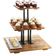 Bakery Display Stands Mil 100100 Madera Reclaimed Wood 100 Tier Pastry Display Riser 100 18