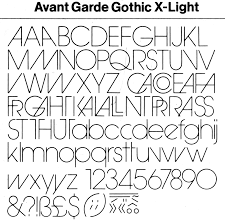 Avant Garde Gothic Light Showings Of Avant Garde Gothic Family Including Variants And