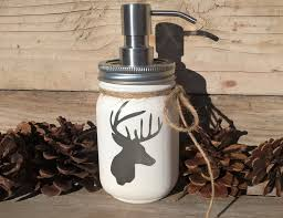 Mason Jar Bathroom Accessories Mason Jarsoap Dispenserdeer Head Decorbathroom Deer Decor