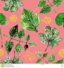 De Zomerpatroon Groene Bladeren Natuurlijk Behang Bloemen Patroon