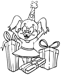 Small Picture Birthday Coloring Page A Happy Girl With Lots of Presents