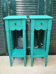 teal accent table tall round accent table end table small reclaimed turquoise paint 1 tall small