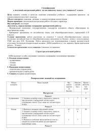 Входная контрольная работа по английскому языку в классе Спецификация к итоговой контрольной работе по английскому языку для учащихся 5 Цель
