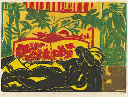 the woman in african wearing only a large necklace reclines on an overstuffed settee her alluring position is similar to the pose found in classic