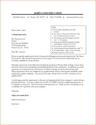 Sample Resume Cover Letter Construction Manager New Construction