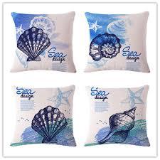 shell marine life cotton flax pillow
