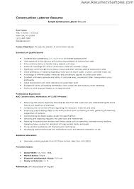 Laborer Resume Samples Best Of Construction Worker Resume Examples Construction Laborer Resume
